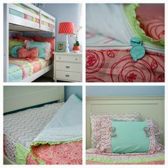 Zipper bedding. PERFECT for bunk-beds and daybeds. CUTE girls bedding! Check it out! www.beddys.com