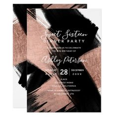 Black rose gold brushstrokes typography Sweet 16 Card - chic design idea diy elegant beautiful stylish modern exclusive trendy