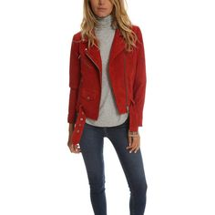 Veda Jayne Suede Jacket ($990) ❤ liked on Polyvore featuring outerwear, jackets, bestsellers, women, shiny jacket, rider jacket, red jacket, suede jacket and veda