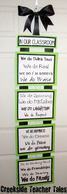 Do you want to know what it's like in our classroom? Display this sign! I used thick scrapbook paper for the backing, printed on card stock, green and black glitter tape from American Crafts for the borders, and 2.5 inch back ribbon for the bow and to connect. It's a great visual reminder for the students.