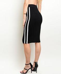 Black White Side Contrast Striped Fashion Pencil Stretch Below Knee Style Skirt #Fashion #StretchKnit #Career