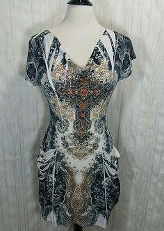 Love J sublimation sequin cross boho tunic dress cowl neck pockets Size Small