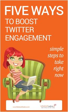 FIVE WAYS TO BOOST TWITTER ENGAGEMENT - Are you using Twitter to market your business? Wondering how to improve your results? Here's five simple ways you can expand your presence and grow a loyal following through Twitter! by @rebekahradice | via @borntobesocial