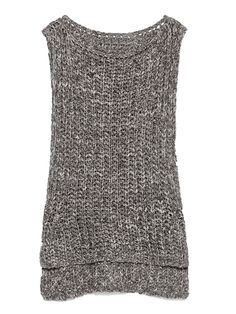 Gray Sleeveless Dipped Hem Knit Vest | Choies
