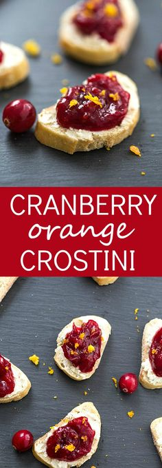 Cranberry Orange Crostini - A decadent crostini made with an out-of-this-world cheese spread, then topped with fresh cranberry sauce and orange zest! Perfect appetizer for the holidays. #LoveBoursin