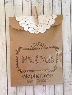 Fall Wedding Mr & Mrs Custom Favors Cookie  Buffet dessert bar confetti rice birdseed gifts on Etsy, $45.00
