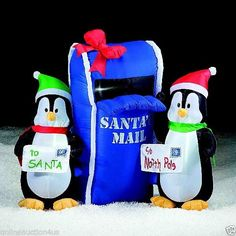 NEW GEMMY AIRBLOWN INFLATABLE CHRISTMAS penguins mailbox YARD DECOR