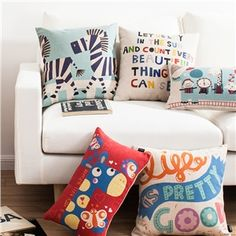 Modern Simple Letters Animals Sofa Office Linen Pillow Cover