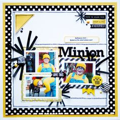 Minion - Scrapbook.com - Instead of using traditional Halloween colors, use a combination of colors that coordinates to your photos for a fun look.