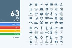 63 sea icons by Palau on Creative Market