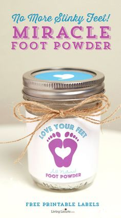Homemade Foot Powder made with Essential Oils. No More Stinky Feet! Enjoy cute free printable labels for gifts. LivingLocurto.com