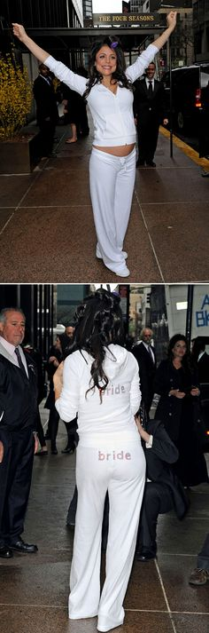 """I have to admit, I loved Bethenny """"Pay Attention To Me!"""" Frankel's wedding day sweatsuit. It's cute and practical. You need something loungey for freaking out in while you get your hair and makeup done. Goes better without a pregnant belly."""