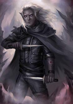 m Drow Elf Rogue Assassin Leather Armor Cloak Dual Daggers Poison male mouse companion Underdark passage lg Fantasy Art Men, Fantasy Rpg, Dnd Characters, Fantasy Characters, Fantasy Character Design, Character Art, Drow Male, Drizzt Do Urden, Half Drow