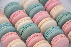Pastel macaron selection (featuring pink, blue and white macarons) - perfect for a gender reveal or baby shower Our Pastel macaron selection (tray of 24) comprises Vanilla, Rose and Blue Salted Caramel macarons making the selection ideal for a baby shower event, for a gender reveal party or finishing touches for a cake. Additionally they work beautifully for early years birthday parties / cakes. Vanilla macaron - cream Rose macaron - pink Salted Caramel macaron - blue These beautiful gourmet… Baby Shower Desserts, Baby Shower Cakes, Baby Shower Decorations, Salted Caramel Macaron, Pastel Party, Rainbow Parties, Baby Shower Flowers, Rose Oil, Cream Roses