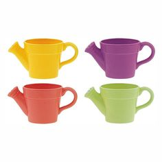 4.5 in. Dia. x 4.5 in. T. Ceramic Watering Can Lively 4 Color Assortment