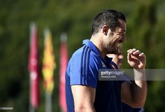 France's full back Scott Spedding smiles at the end of a training session on August 2015 in Saint-Laurent-de-Cerdans, southern France. France's team begins his training at altitude prior to the 2015 Rugby World Cup in England.