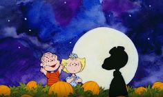 Snoopy rising up in the pumpkin patch Linus the zealot thinks he has seen the Great Pumpkin.