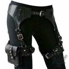 Steampunk bag belt black