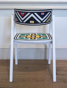 For Sale on - Untitled (Colorful Geometric Hand-Painted South African Chairs), Acrylic Paint by Esther Mahlangu. Offered by Malin Gallery. Contemporary African Art, Contemporary Design, Mural Painting, Woman Painting, South African Artists, Geometric Lines, Colorful Paintings, Museum Of Fine Arts, Teaching Art