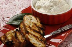 Grilled pretzel bread w/ goat cheese spread - yum