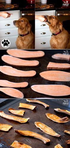 Pre heat oven to 300 degrees Cut sweet potato lengthwise, about 1/8 inch to 1/4 inch thick. Bake on a cookie sheet for 25 minutes and flip over and bake for another 25 minutes longer.