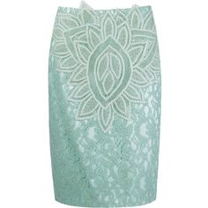 Martha Medeiros Marescot Lace Pencil Skirt (113.520 RUB) ❤ liked on Polyvore featuring skirts, green, martha medeiros, lacy skirt, lace pencil skirt, green skirt and lace skirt