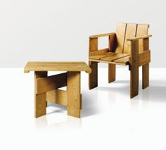 'krat', a pine armchair and coffee table by Gerrit Thomas Rietveld, designed in 1934, executed before 1937