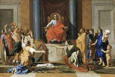 """Nicolas Poussin, le jugement de Salomon. Dans cet épisode biblique, deux femmes se disputent la """"propriété"""" d'un enfant. Salomon propose de couper l'enfant en deux pour le partager, ce que refuse la véritable mère, révélant ainsi la vérité."""