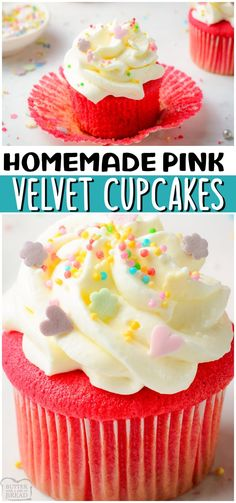 Homemade Pink Velvet Cupcakes are the PERFECT pink cupcakes. Moist, tender cupcakes made from scratch, then colored in a vibrant pink, then topped with a fluffy cream cheese frosting! #cupcakes #pink #homemade #baking #velvet #easyrecipe from BUTTER WITH A SIDE OF BREAD Recipes Using Fruit, Recipes With Yeast, Cake Mix Recipes, Pound Cake Recipes, Cupcake Recipes, Sweet Recipes, Easy Recipes, Cookie Recipes, Cupcake Cakes