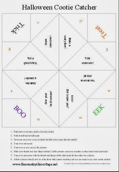 Free Halloween Cootie Catcher Template   Fortune Teller Catcher