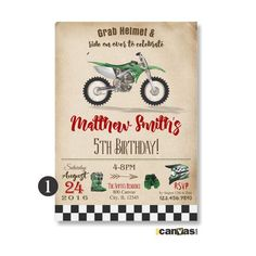 Motorcycle Birthday Invitation DirtBike Dirt Bike Biker 1st 2nd 3rd 4th 5th 6th 7th 8th Digital Printable Or Printed With FREE SHIPPING 476G