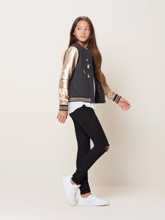 The Bomber jacket is one of tween girls favorite fall look. The Red gold color makes this jacket stand out for all the older and plainer bomber jackets.