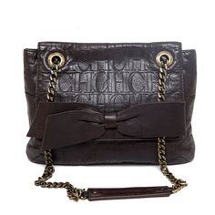 d90f8f91b Authentic Carolina Herrera Brown CH Embossed Audrey Flap Evening Bag Chain  Strap #CarolinaHerrera #EveningBag