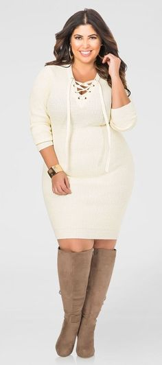 Plus Size Lace-Up Bodycon Sweater Dress