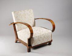 A single Art Deco armchair  by Jindrich Halabala, Spojene UP zavody  Walnut veneer  Brno, Czechoslovakia, c.1930