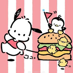 Pochacco is jumping for joy, it's National Cheeseburger Day! Hello Kitty Characters, Sanrio Characters, Sanrio Wallpaper, Hello Kitty Wallpaper, Pochacco Sanrio, Chibi Food, Cute Themes, Drawing Projects, Little Twin Stars