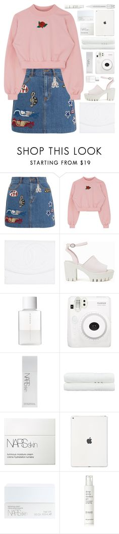 """pink n girlie"" by charli-oakeby ❤ liked on Polyvore featuring Marc Jacobs, Chanel, Nly Shoes, SUQQU, Fuji, NARS Cosmetics, Linum Home Textiles, This Works, Sephora Collection and Summer"