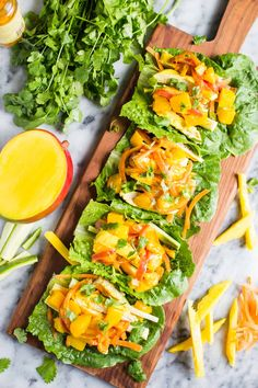 These Mango Chicken Lettuce Wraps are SUPER easy to make and SO delicious!! They're light and healthy and make for the perfect lunch or dinner.