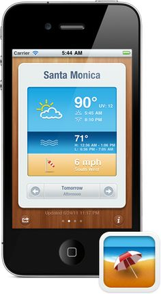 Screenshot BeachWeather app for iPhone