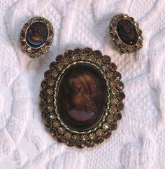 Vintage Cameo Brooch with Matching Earrings / Amber Glass Carved Cameo  / Dodds Rhinestone Cameo Brooch by vintagous on Etsy