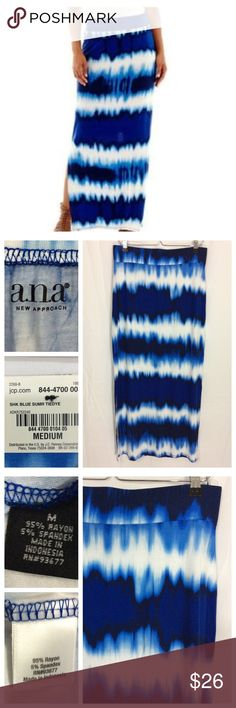 """🕉 Tie Dye Maxi Incredibly soft Rayon skirt with all-over blue hue tie-dye pattern. Long length with 2- 17.5"""" slits at hem seams for easy movement, 5% spandex for additional comfort. Size M - 16"""" waist, 40"""" total length. NWT - excellent condition Skirts Maxi"""