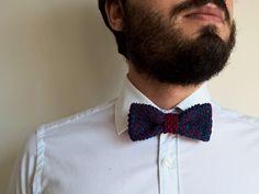 Papillon modello Fred | 100% PimaCotton Bordeaux e Oceano | bicolor knitted bowtie | Perfect gift for him