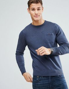 BEN SHERMAN LONG SLEEVE POCKET KNIT SWEATER - BLUE. #bensherman #cloth #