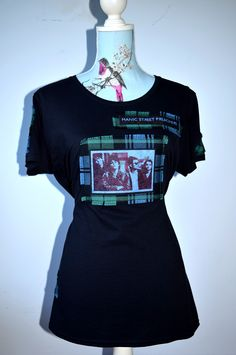 Manic Street Preachers custom made t-shirt. Hand made using sublimation printing and tartan. Made in Scotland by MoNkA.  Take a look at our Facebook and website for more or on my Pinterest page. :) https://www.facebook.com/monka.rocks/?fref=ts