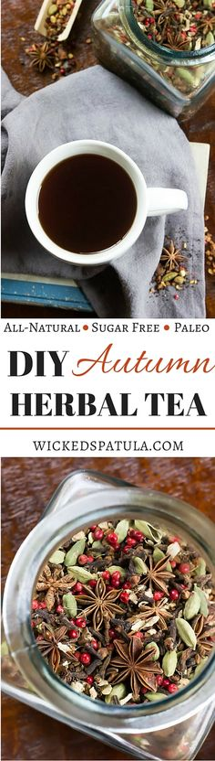 DIY Autumn Herbal Tea Blend - Tastes like fall in a cup! Also perfect for a homemade Christmas gift! | wickedspatula.com Tea Recipes, Fall Recipes, Drink Recipes, Homemade Tea, Tea Blends, Food Gifts, High Tea, Healthy Drinks, Healthy Cooking
