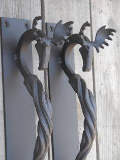 Set of 2 hand forged door pulls medium Moose Blacksmith