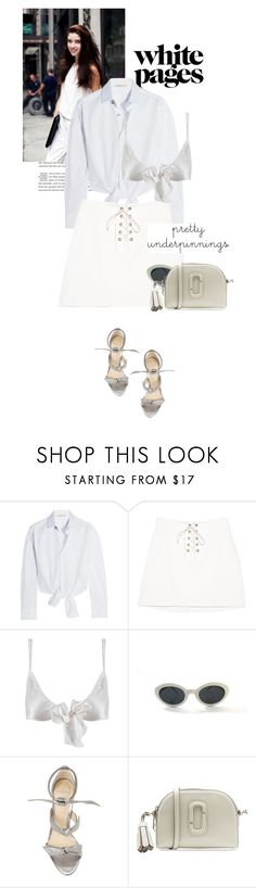 """""""all white long:The Prettiest Underpinnings"""" by black-eclipse-red-sky ❤ liked on Polyvore featuring Maje, Only Hearts, Vintage Eyewear, Alexandre Birman, Marc Jacobs and prettyunderpinnings"""