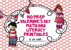 No Prep Valentine's Day Math and Literacy Printables. 20 Common Core Aligned activities included!