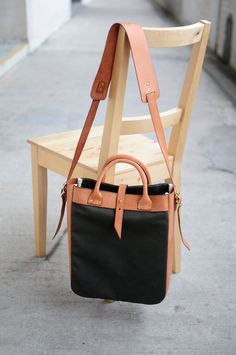 Hand Stitched Brown Leather + Canvas Shoulder Bag/ Tote Bag