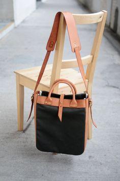 Hand Stitched Brown Leather + Canvas Shoulder Bag/ Tote Bag